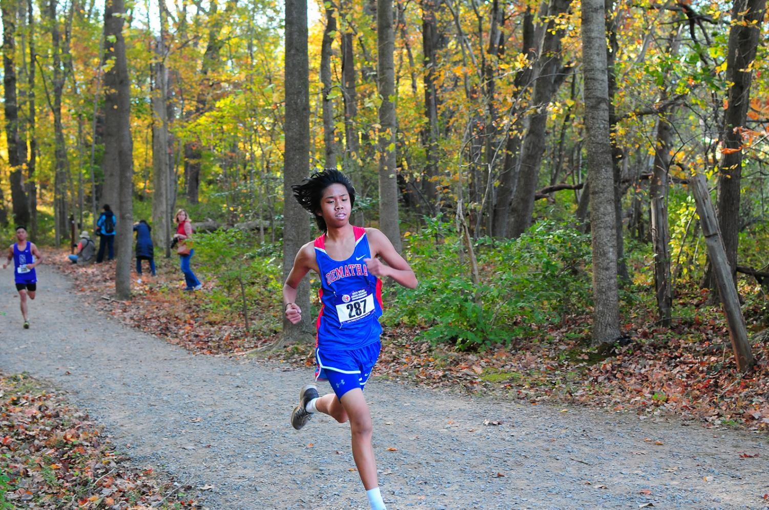 Manuel Legaspi Jr. paces himself during a cross country run. The team had a successful, and Coach Puffett is pushing the runners to be the best they can be in the future through strict training plan according today of the week.