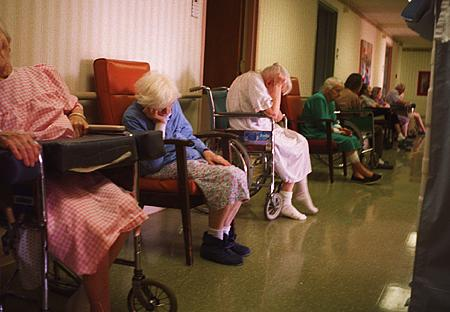 Pictured above is a group of elderly folks seemingly drowsy and exhausted at a retirement home.