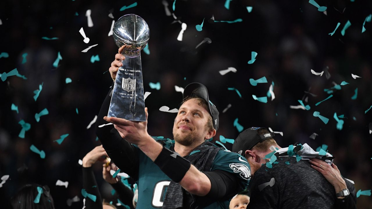 Nick Foles, the unlikely hero of Philadelphia, celebrates his first title.