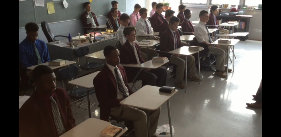Mr. Twigg's juniors do lectio divina for his Christian Ethics class.