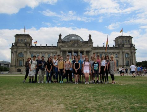 "The AATG students with their German hosts visited the famous German parliament building called ""Reichstag"" in Berlin, Germany."