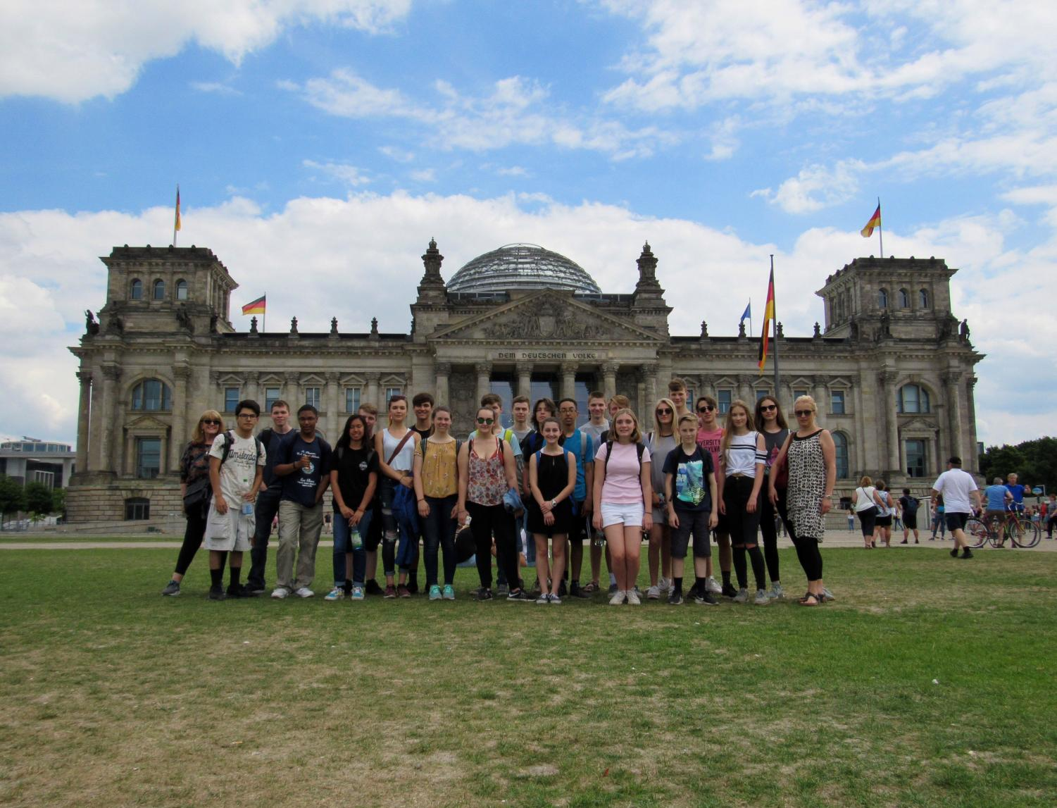 The AATG students with their German hosts visited the famous German parliament building called